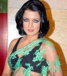 Hairstyles with saree for short hairs by Celina Jaitley
