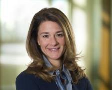 Top business woman Melinda Gates in long open hairstyle
