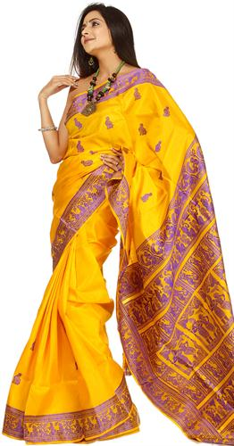 Yellow Baluchari Saree